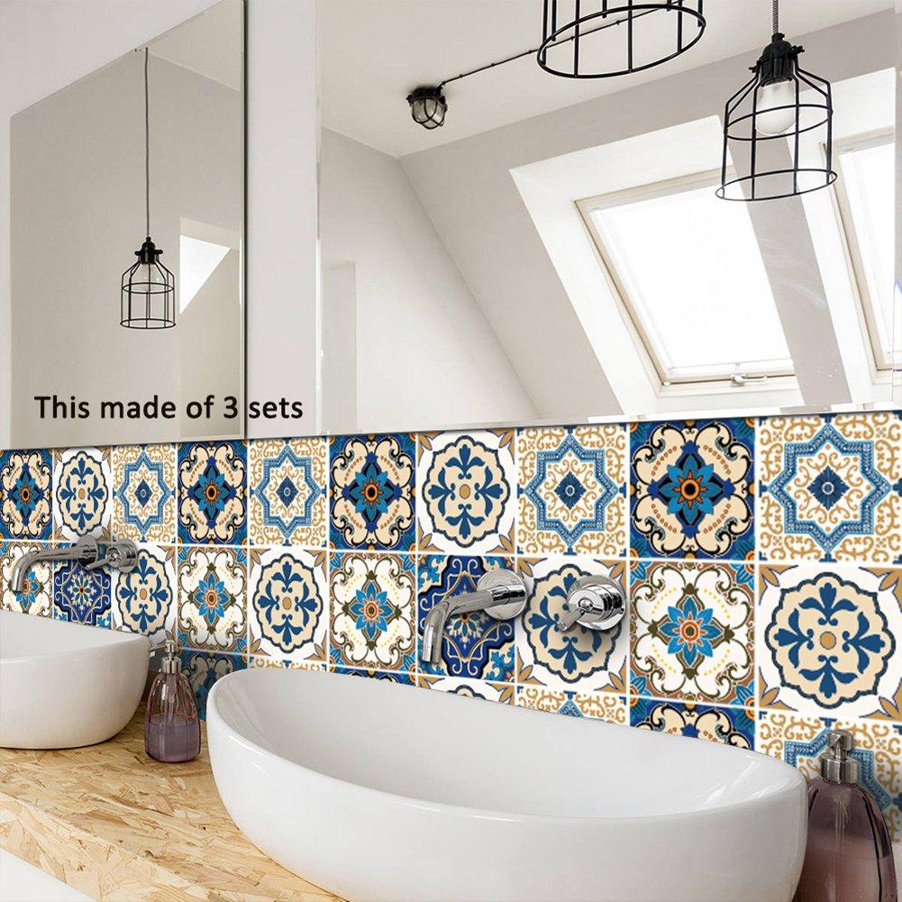 Amazon.com: 10PCS Moroccan Style Tile Stickers Waterproof Wall ...