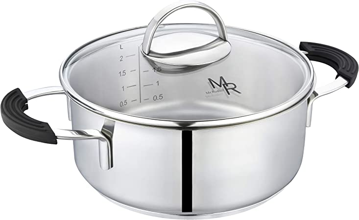 Mr Rudolf 2 Quart 18 10 Stainless Steel 2 Handles Stock Pot with Glass Lid Dishwasher Safe PFOA Free Casserole Stockpots 20cm 2 Liter Dutch Oven