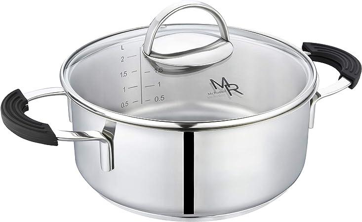 Mr Rudolf 2 Quart 18 10 Stainless Steel 2 Handles Stock Pot with Glass Lid Dishwasher Safe PFOA Free Casserole Stockpots 20cm 2 Liter Dutch Oven