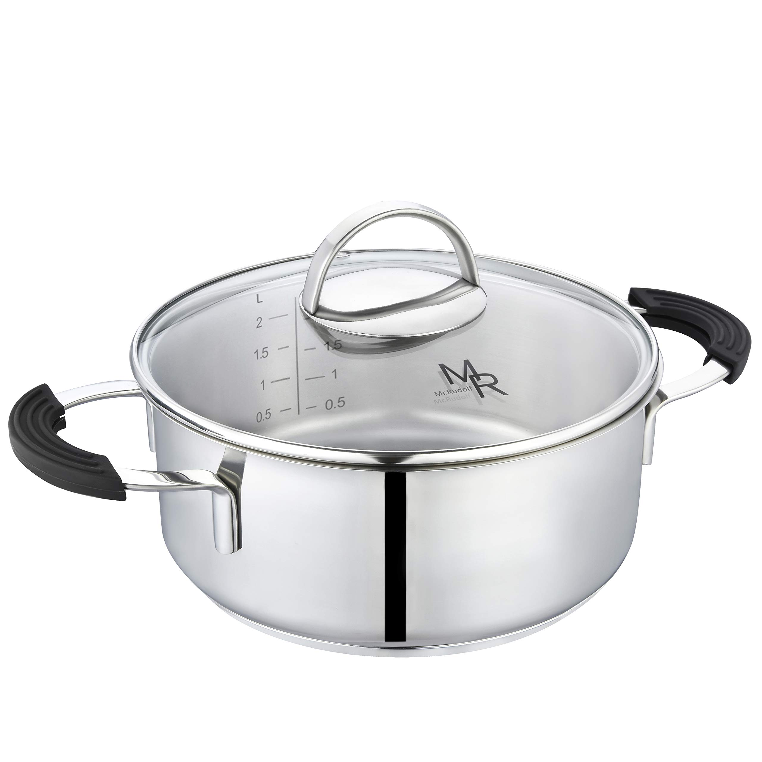 Mr Rudolf 2 Quart 18/10 Stainless Steel 2 Handles Stock Pot with Glass Lid Dishwasher Safe PFOA Free Casserole Stockpots 20cm 2 Liter Dutch Oven by Mr Rudolf