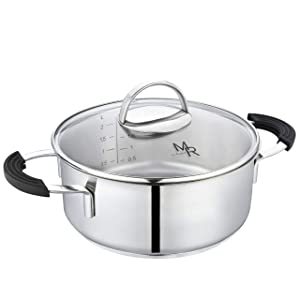 Mr Rudolf 2 Quart 18/10 Stainless Steel 2 Handles Stock Pot with Glass Lid Dishwasher Safe PFOA Free Casserole Stocpots 20cm 2 Liter Dutch Oven