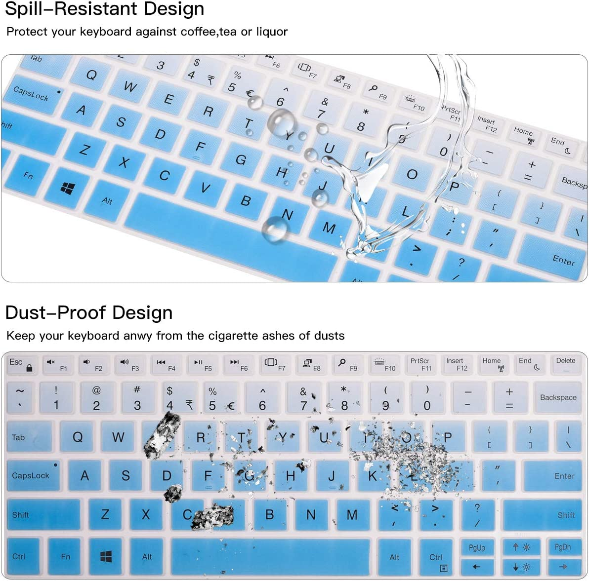 DELL XPS 13 Laptop Keyboard Skin Protector CASEDAO Keyboard Cover for DELL XPS 13 9380 2019 // DELL XPS 13 9370 9365 13.3 inch Laptop Black NOT for XPS 13 7390