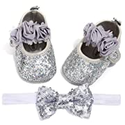 LIVEBOX Baby Girls Shoes Soft Sole Prewalker Mary Jane Princess Party Dress Crib Shoes with Free Bow Knot Baby Headband (M:6-12 Months/4.72 , Silver)