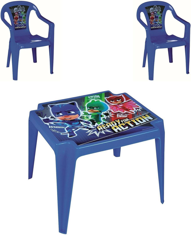 PJ-Masks - Juego de Mesa y 2 sillas para niños en Interiores y Exteriores, Jardines, Patios, picnics: Amazon.es: Hogar