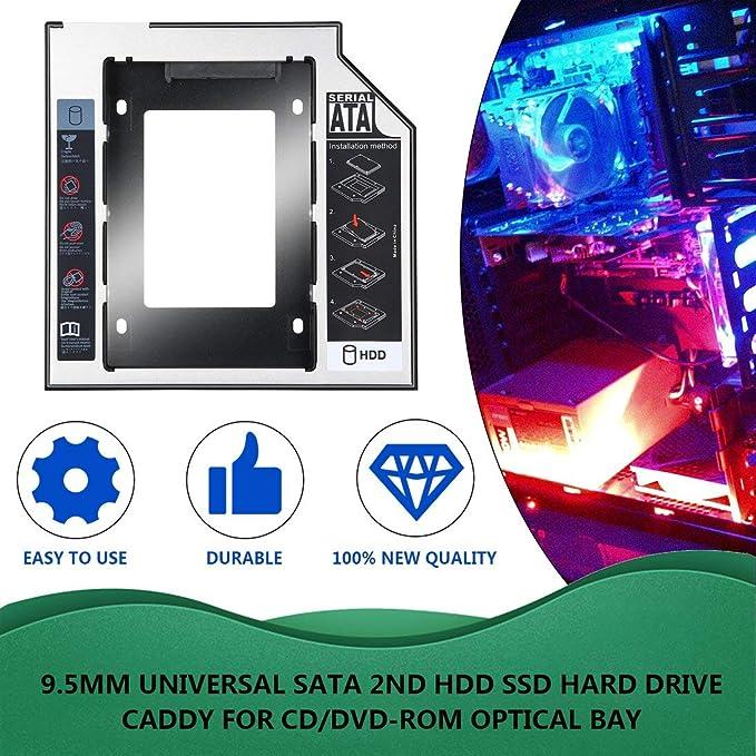 Carrito de Disco Duro SATA HDD SSD de Aluminio Universal de 9,5 mm ...