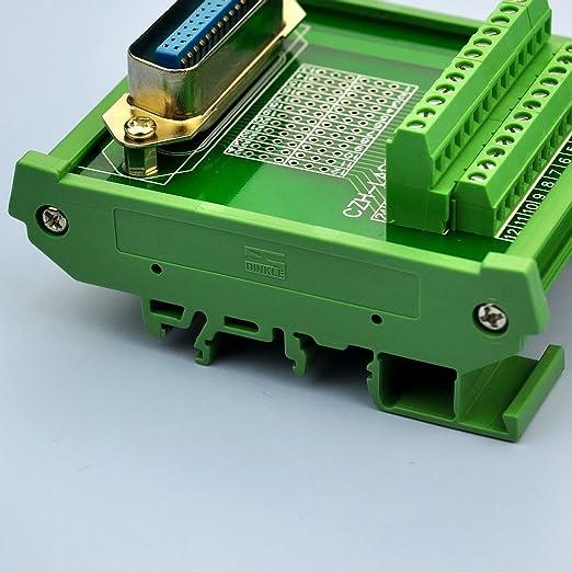 Electronics-Salon DIN Rail Mount 24-Pin 0.085 Centronics Female Ribbon Connector Interface Module Screw Terminal Block Breakout Board.