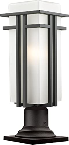 Z-Lite 550PHBR-533PM-ORBZ Outdoor Pier Mount Light, Matte Opal Shade Steel