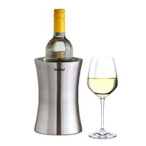 VonShef Wine Bottle Cooler Chiller, Stainless Steel, Double Walled Insulated, Stemless Holder with Gift Box