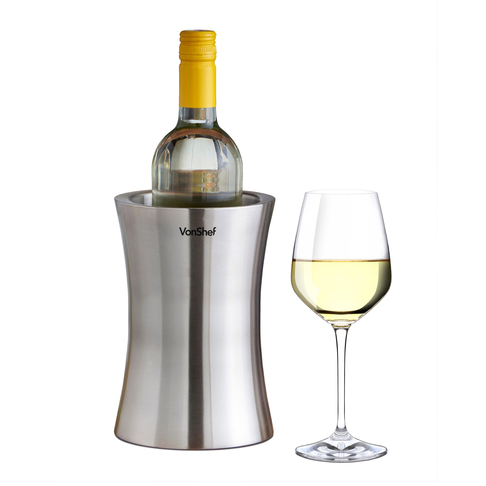 VonShef Wine Bottle Cooler Chiller, Stainless Steel, Double Walled, Stemless Holder