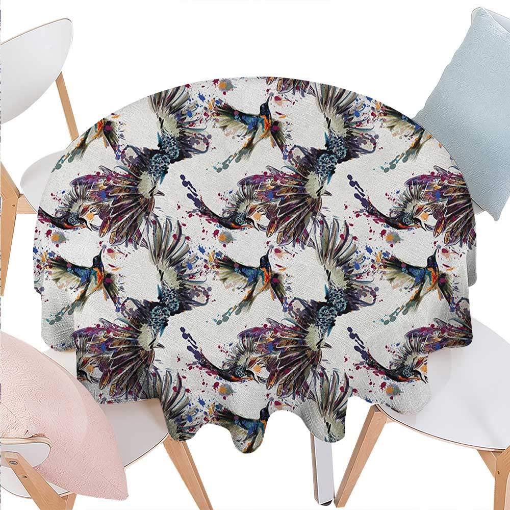 水彩画 プリント テーブルクロス 手描き バラと葉 抽象画 花柄 花 咲く自然テーマ フランネル テーブルクロス 36インチx36インチ バイオレット ブルー スレートブルー D50