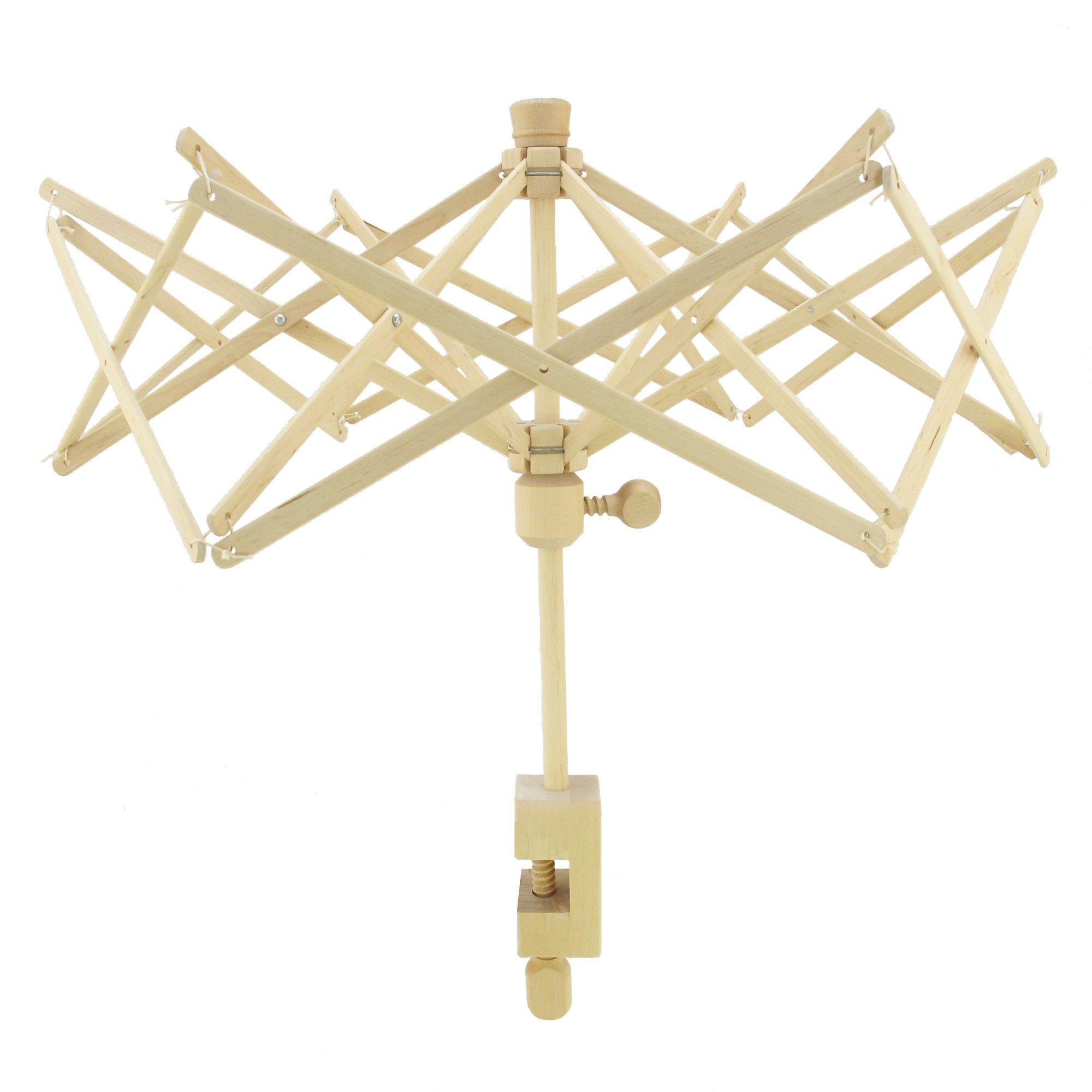 BambooMN Brand Wooden Umbrella Yarn Swift Winder, 1 Set