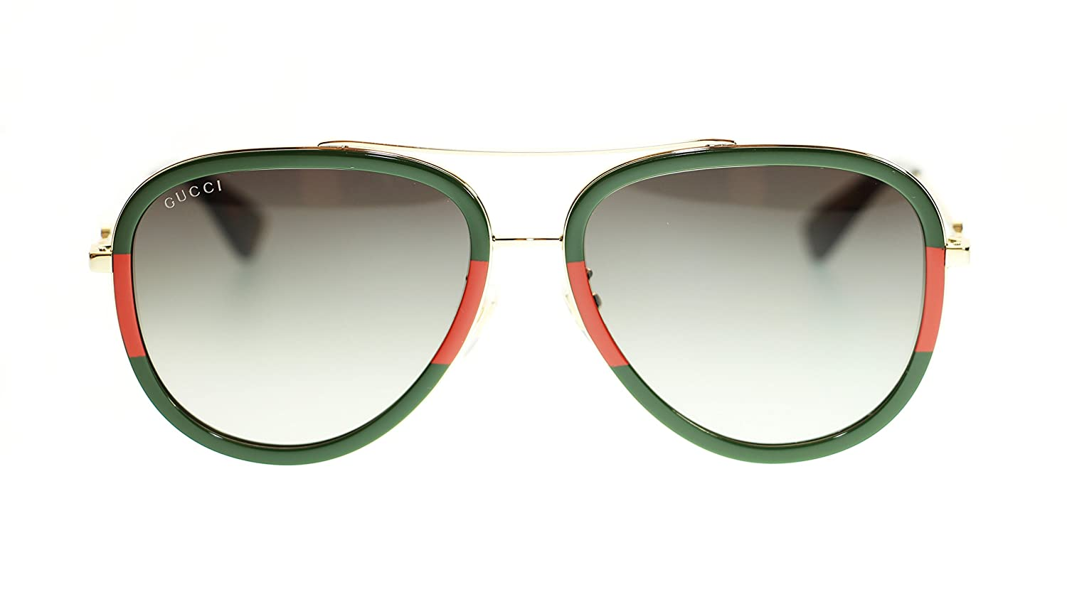7ffd126461 Gucci Women Aviator Sunglasses GG0062S 003 Gold Green Gradient Lens 57mm  Authentic  Amazon.co.uk  Clothing