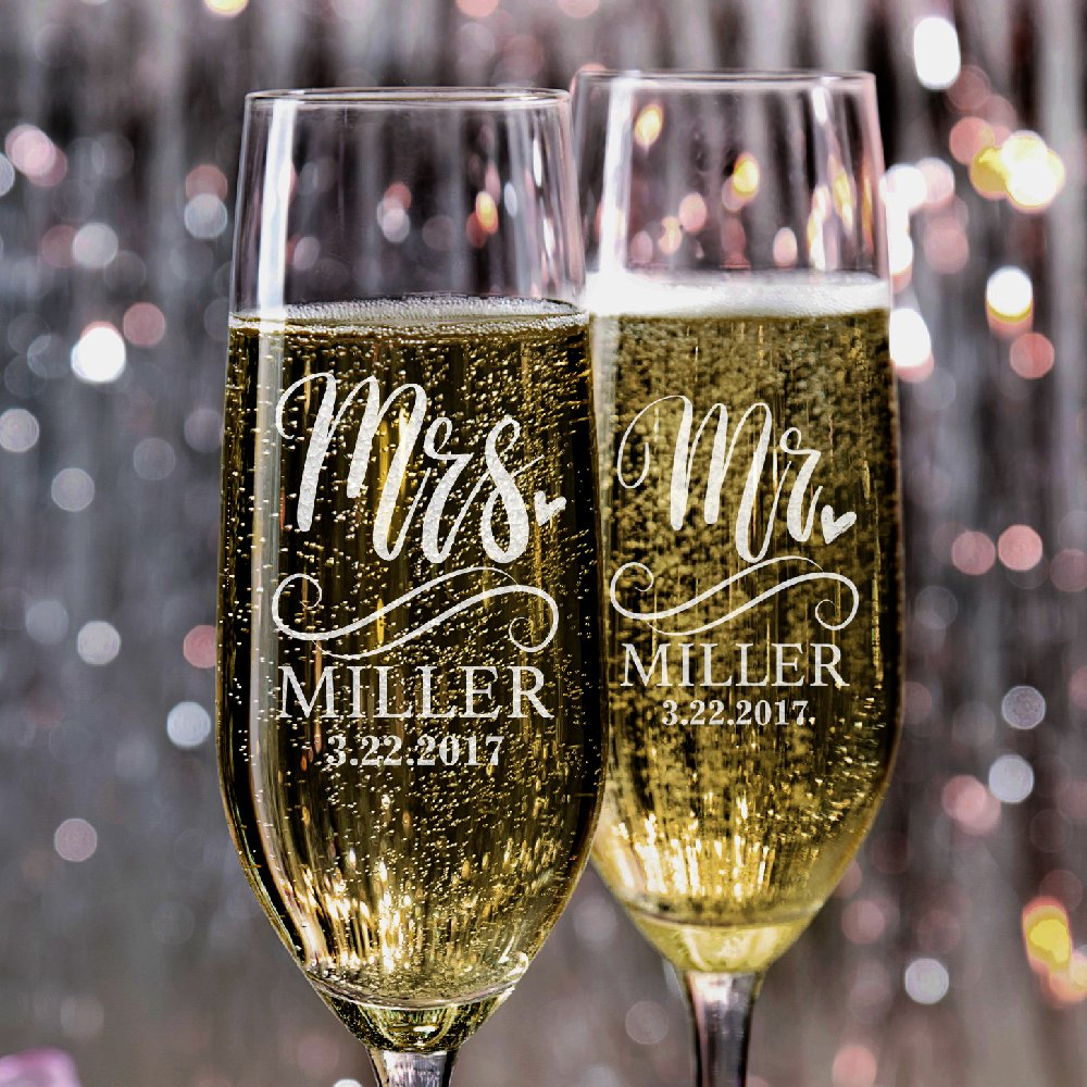P Lab Set of 2, Mr. Mrs. Heart Last Name & Date, Personalized Wedding Champagne Flutes, Wedding Toasting Glasses for Bride and Groom - Customized Etched Flutes of Wedding Gift #N5 by Personalization Lab