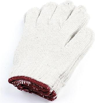 3 pares blanco rojo hilo de algodón elástico puños guantes de trabajo para resistente: Amazon.es: Bricolaje y herramientas