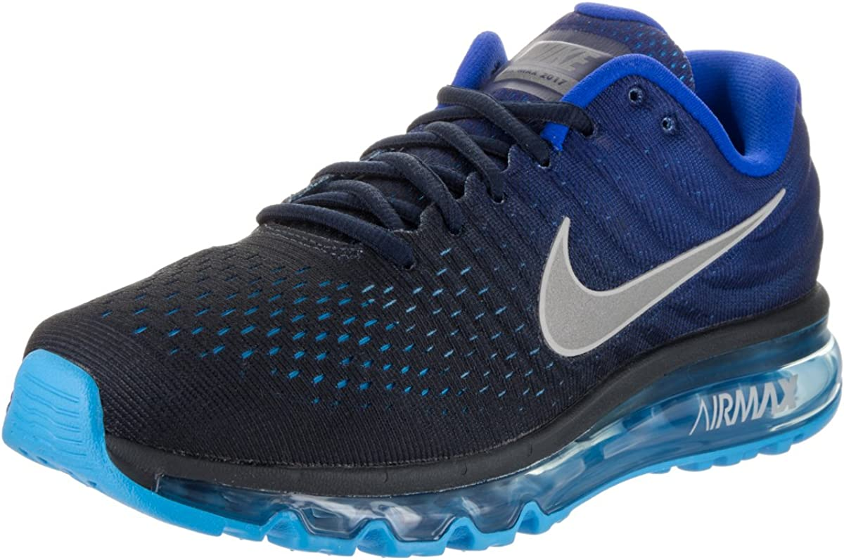 Nike Mens Air Max 2017 Running Shoes Dark Obsidian White Royal Blue 849559-400 Size 11.5