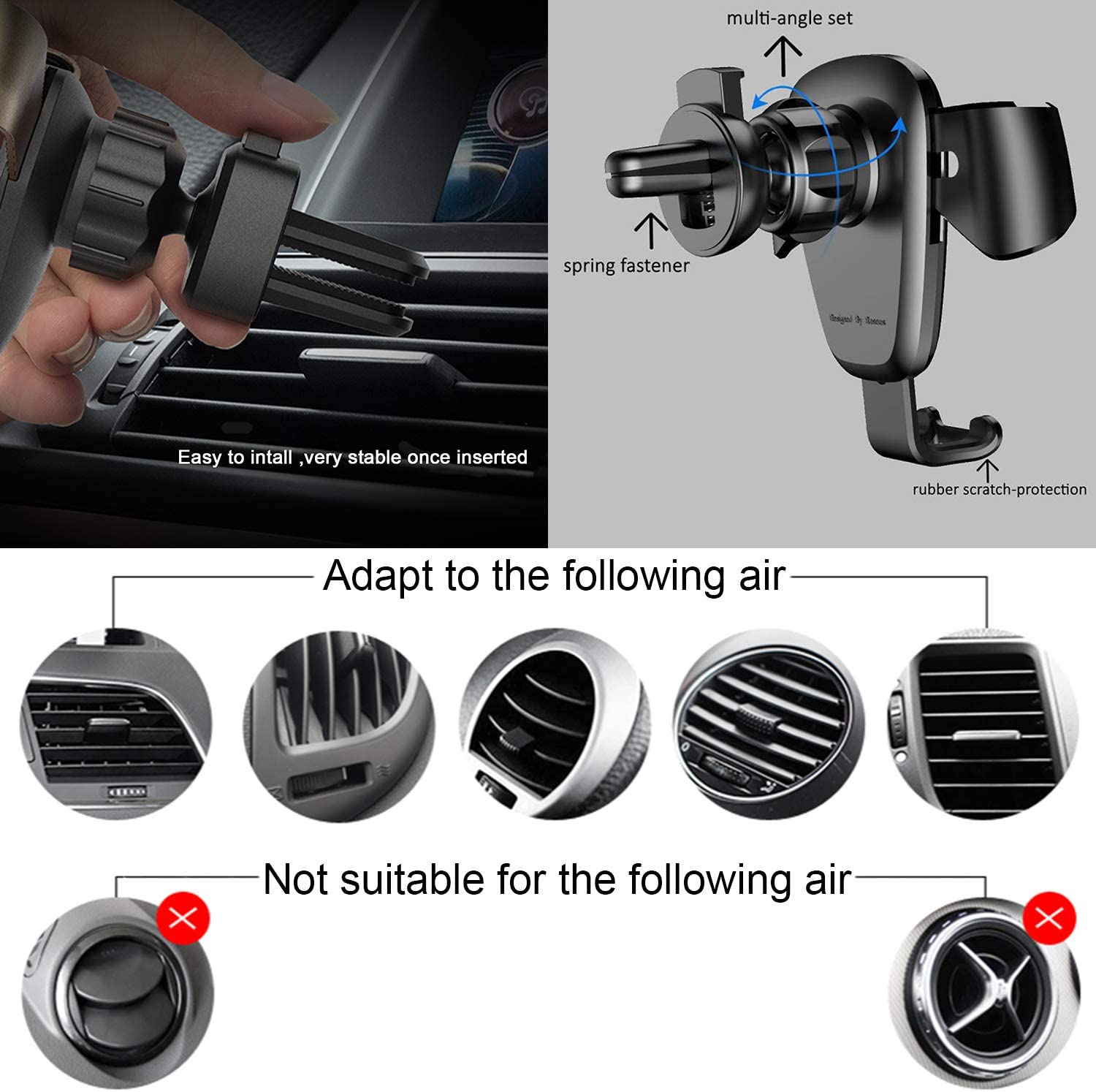 Fit-Fun one Touch Gravity Auto-Clamping Rotating Adjustable 360/° Rotation Metal Multi-Angle Universal Car Vent Phone Mount Holder Cradle car Vehicle air Vent GPS iPhone Samsung Android