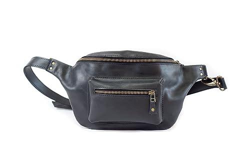 36ee12ae3a1a InCarne Leather Unisex Waist Bag Fanny Pack Unisex Soft Leather Belt Bag  Bum Bag (07002