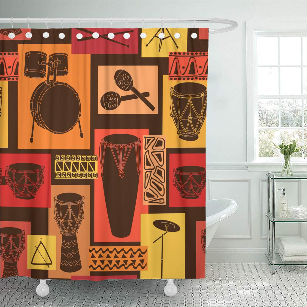Emvency Shower Curtain Colorful Music Abstract Geometric Musical of Drum and Percussion Sets Brown Reggae Shower Curtains Sets with Hooks 60 x 72 Inches Waterproof Polyester Fabric