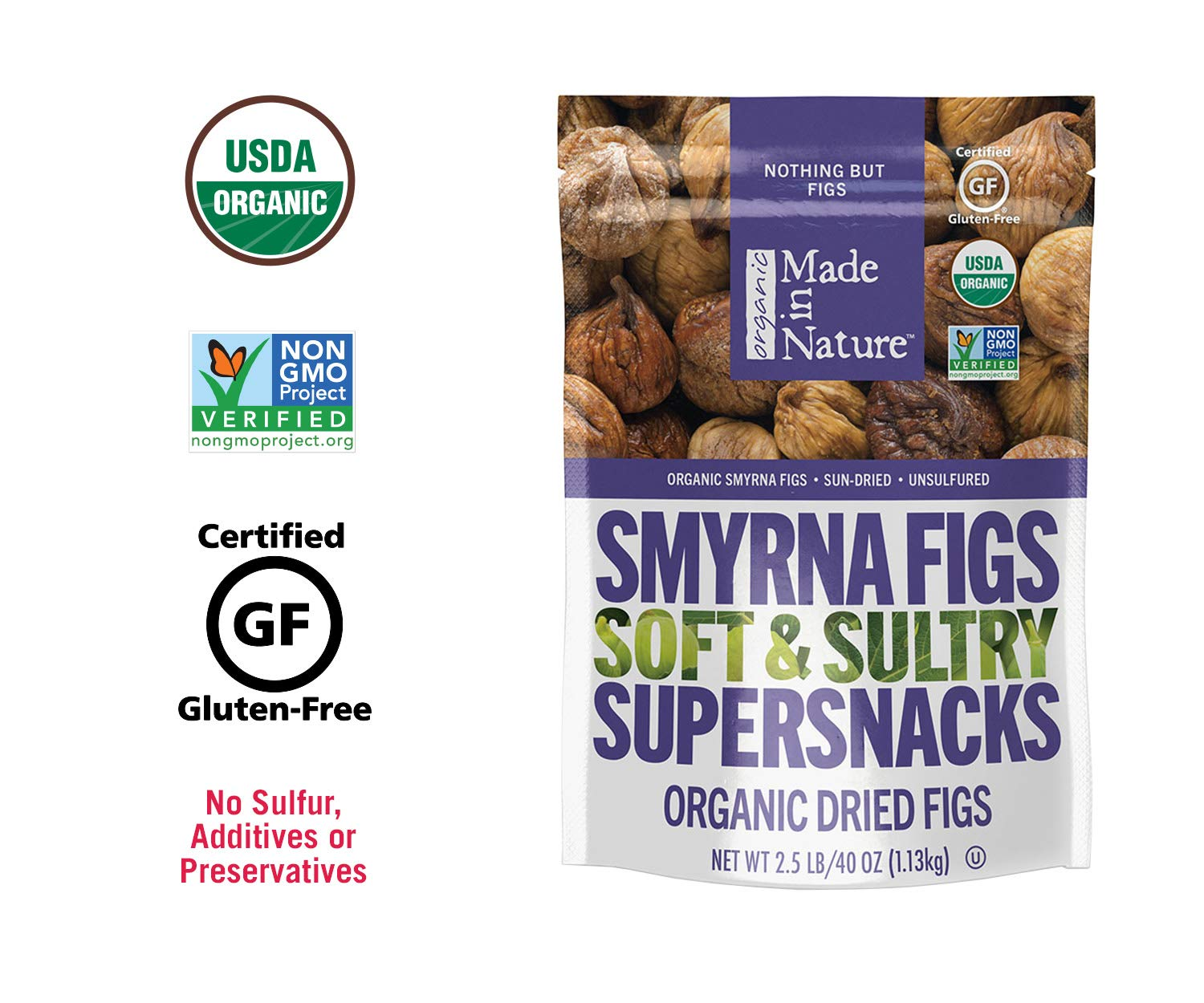 Made In Nature Organic Dried Smyrna Figs, 40 oz Bag- Non-GMO Vegan Dried Fruit Snack