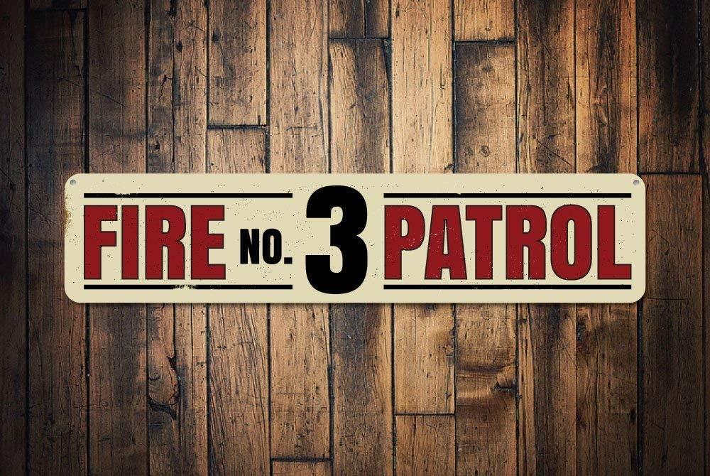 C-US-lmf379581 señal de número de la Patrulla de Incendios Personalizada para Bomberos, Regalo de Bomberos, decoración de Cueva de Hombre, Aluminio de Calidad
