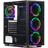 Noua Utopia F5 Black Case Atx per PC Gaming 0.65MM SPCC 4 Ventole RGB DUAL HALO Rainbow 3*USB3.0/2.0 Pannello Frontale e Laterale in Vetro Temperato