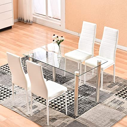Merveilleux Dining Table With Chairs,4HOMART 5 PCS Glass Dining Kitchen Table Set Modern  Tempered Glass
