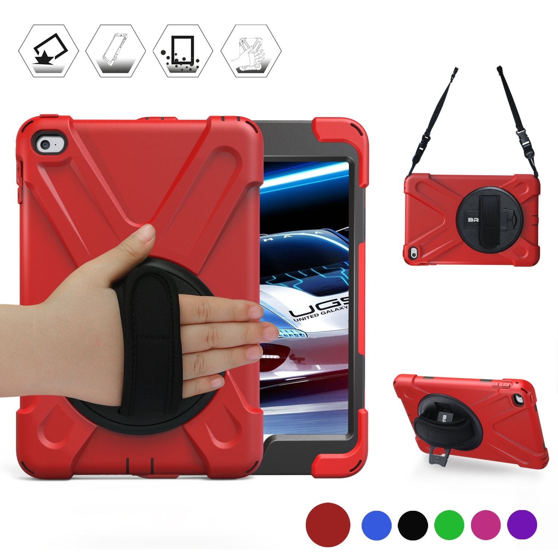 BRAECN iPad Mini 4 Case for mini ipad 4 case with 360 Degree Swivel Stand/ Hand Strap/Shoulder Strap Case[Heavy Duty]Three Layer Ultra Hybrid Shockproof Full-Body Protective Case(No iPad mini case)Red