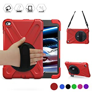 BRAECN iPad Mini 4 Case for mini ipad 4 case with 360 Degree Swivel Stand/ Hand Strap/Shoulder Strap Case[Heavy Duty]Three Layer Ultra Hybrid Shockproof Full-Body Protective Case(No iPad mini case)Red