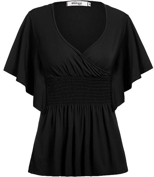 77d5372a843f3 Meaneor Women s Plus Size Top Slimming Empire Waist Plus Size Shirt New Plus  Size Blouse Black