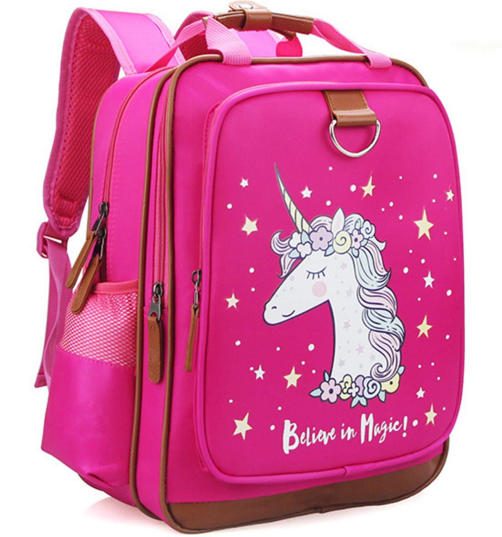 Girls Backpack Unicorn 15'' Pink Kids School Bag for Preschool, Kindergarten, Elementary