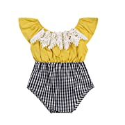 Mornbaby Baby Girls Clothes Off-Shoulder Lace Short Sleeve One-Piece Plaid Romper Jumpsuit Outfit Summer (6-12M, Yellow)
