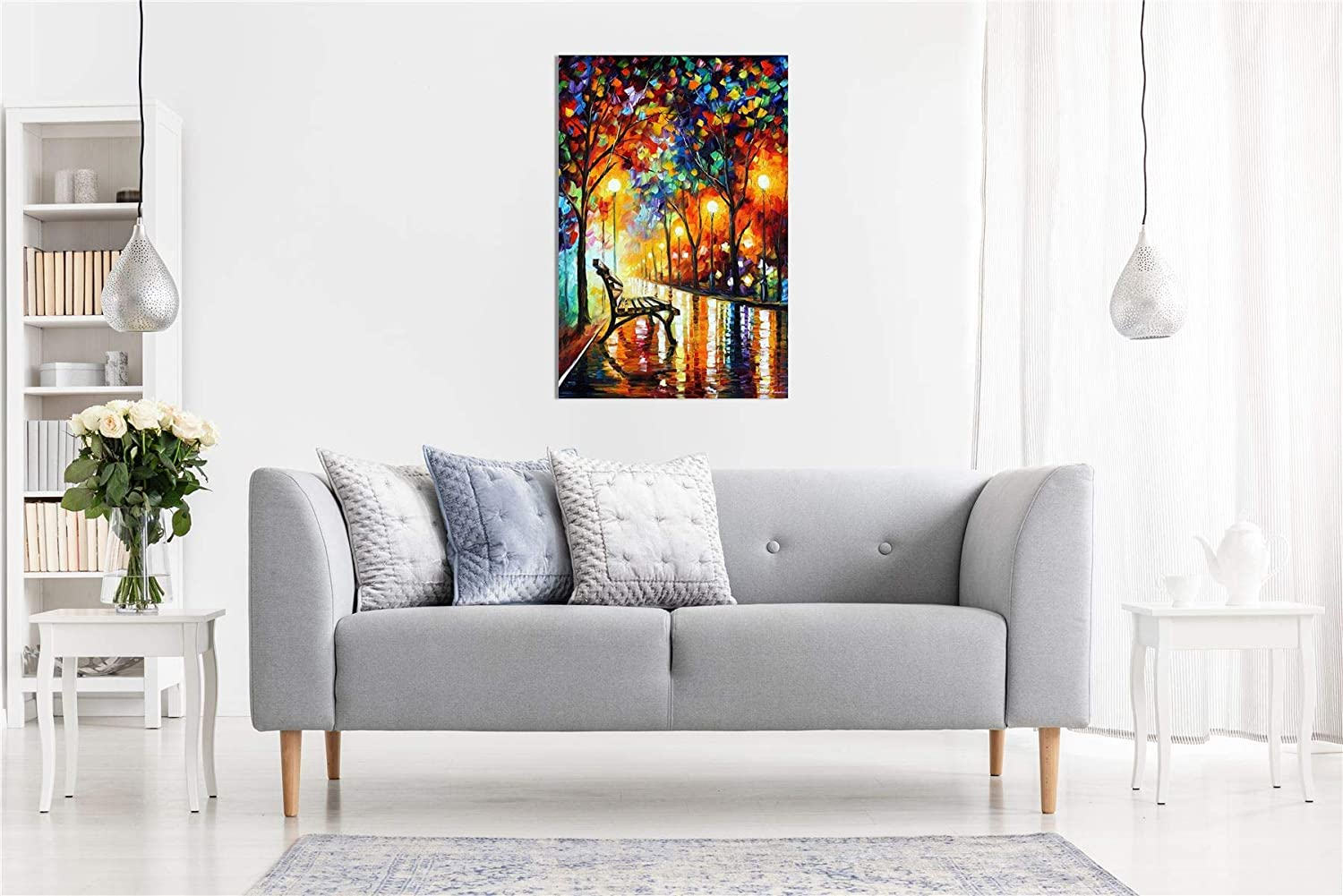 Print On Canvas Loneliness of Autumn by Leonid Afremov Canvas Wall Art Picture Print for Home Decor 60x90cm 23.6x35.4 inch No Frame