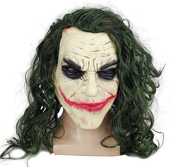 XUMING The Joker Mask Clown, Disfraz de Halloween de Miedo, Látex no tóxico, Peluca Realista para Fiesta Adultos Decoración Cosplay,2: Amazon.es: Deportes y aire libre