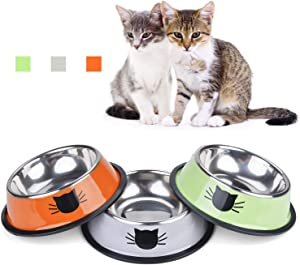 TOMAS Cat Bowls Cat Dishes Stainless Steel Kitten Bowls Cat Food Water Bowls with Non-Slip Rubber Base Pet Bowls Feeding Bowls for Cats and Puppies (Grey/Green/Orange)