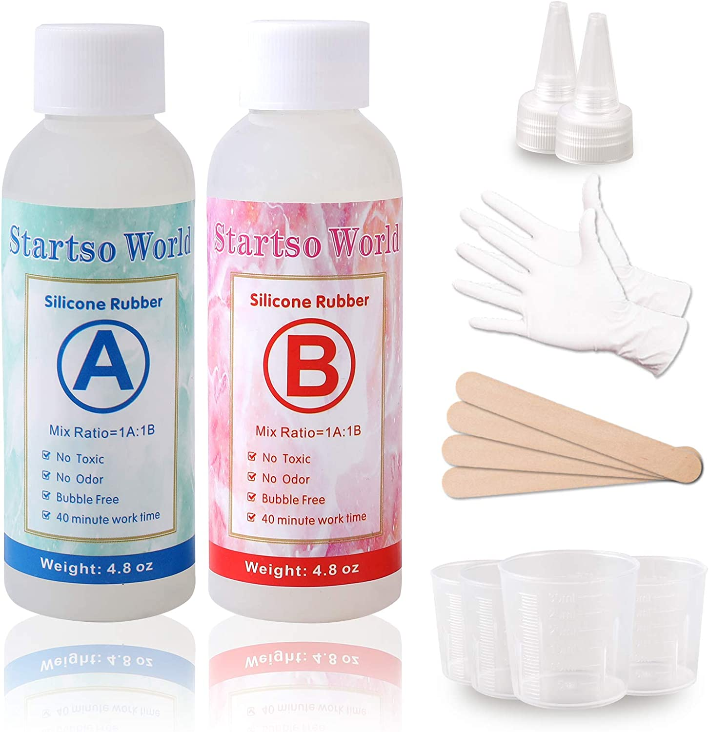 Silicone-Molds-Making-Kit Liquid Translucent Silicone Rubber for Resin Casting - 9.6 Oz | with Tool kit 4 pcs Graduated Cups, 4pcs Sticks, 1 Pair Dropper, 1 Pair Rubber Gloves by Startso World…