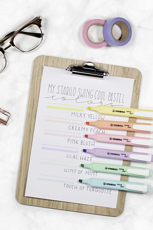 Marcador pastel STABILO swing cool - Estuche con 6 colores: Amazon ...
