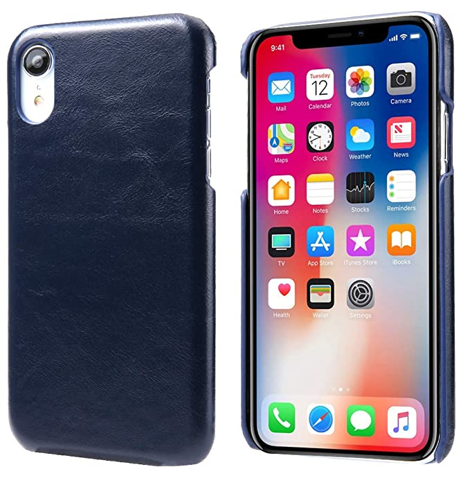 on sale 33bfa 25a02 Reginn iPhone Xr Leather Case, Wireless Charging Compatible Phone Bumper,  Slim Fit Genuine Leather Case for iPhone Xr (Blue)