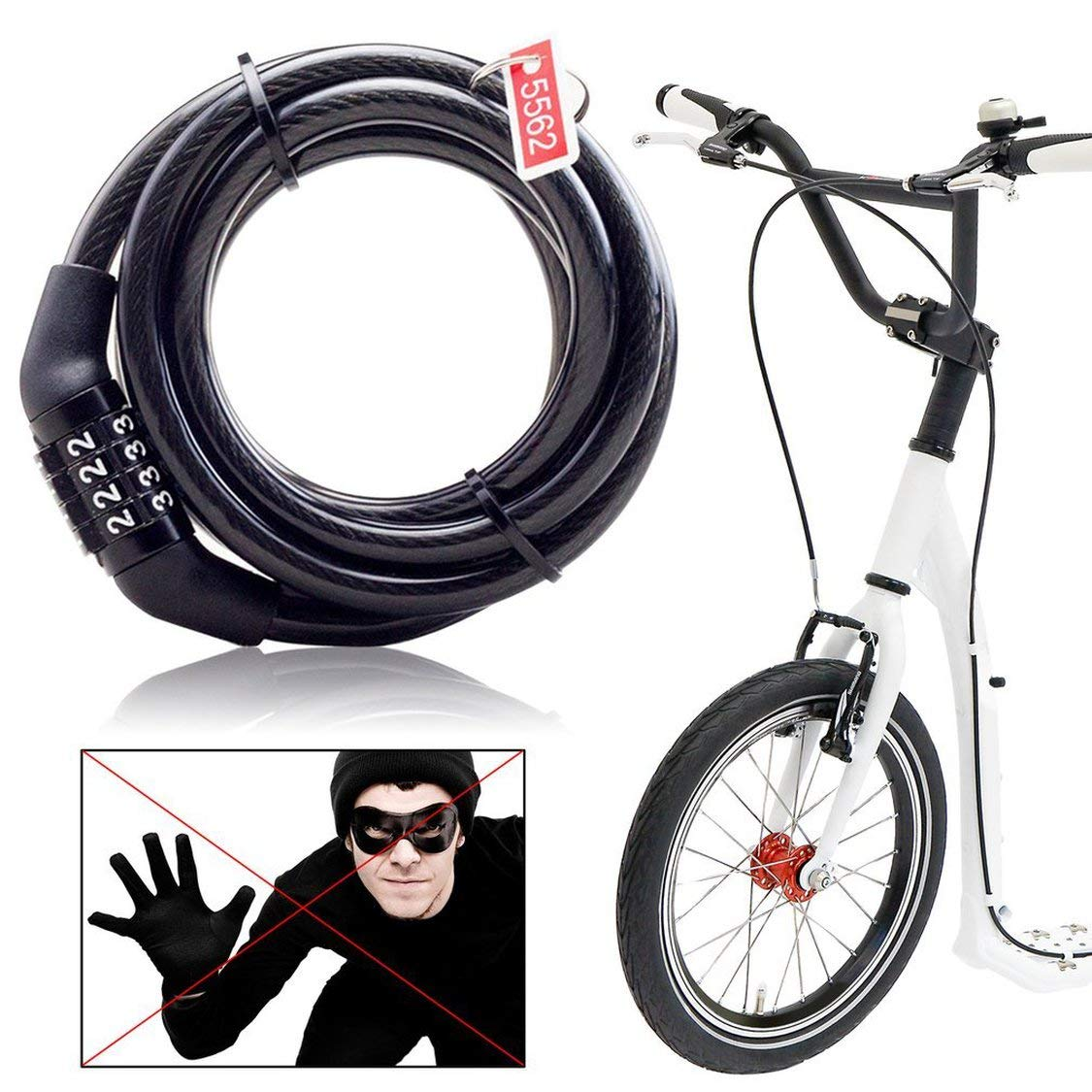 Fancysweety Multifunctional Bicycle Lock Anti-Theft Security Code Combination Lock Strengthen Steel Universal Mountain Bike Cable Lock