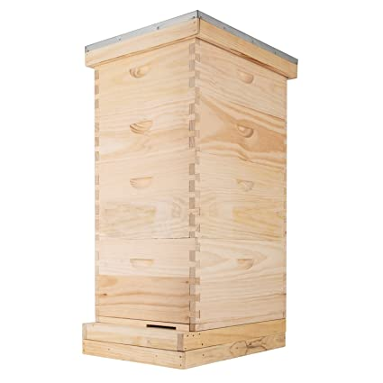BestEquip Langstroth Beehive Frame 4 Layer Bee Hive House 2 Deep 2 Medium  10 Frame Langstroth Wooden Beehive Frames Kit Beekeepers