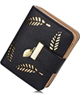 Women's Soft Leather Cut-Out Leaf Short Bifold Wallet Coin Purse (Short Black)