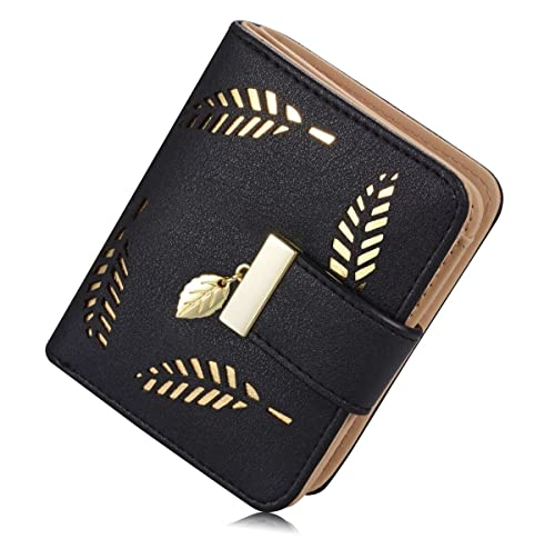 Women's Soft Leather Cut-Out Leaf Short Bifold Wallet Coin Purse
