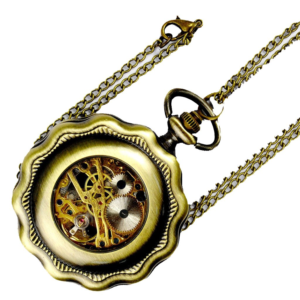 Deluxe Lotus Leaf Steampunk Luminous Watch, Vintage Mechanical Movement Hand Wind Pocket Watch with Chain by KINGREE