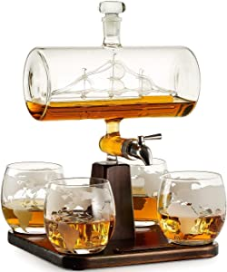 Whiskey Decanter with Antique Ship - The Wine Savant Ship Decanter Set with 4 Globe Glasses, Drink Dispenser for Wine, Whiskey Decan, Liquor Decanter, Scotch, Rum and Liquor or Spirits 1000ml