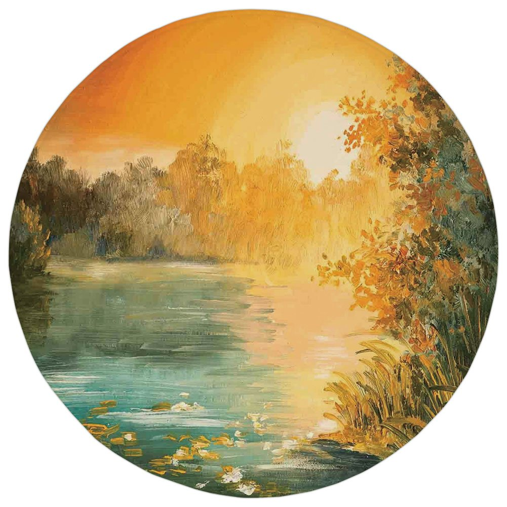 Round Rug Mat Carpet,Country Decor,Pastel Color Sunset on the Lake in Fall Autumn Scenery in Retro Style Art Drawing,Green Orange Blue,Flannel Microfiber Non-slip Soft Absorbent,for Kitchen Floor Bath