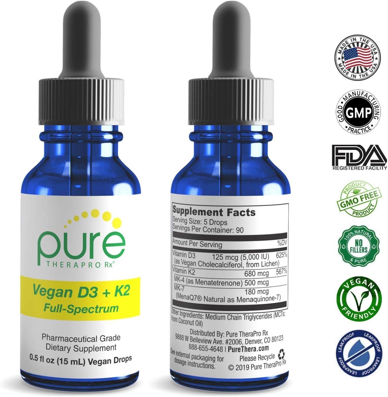 "Vegan D3 + K2 ""Full Spectrum"" Drops for Best Absorption | 5 Drops Contain: 5,000iu VIT D3 ""pureshine"", 500mcg VIT K2 (MK4) & 180mcg VIT K2 (MK7) ""MenaQ7"" | Soy-Free, GF, Non-GMO, Tasteless & Odorless: Health & Personal Care"
