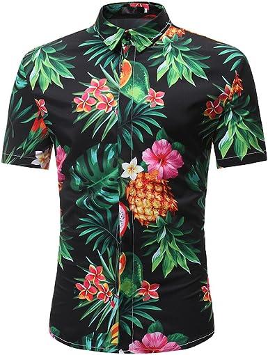 Gusspower Camisa Hawaiana Hombre Manga Corta, Blusa Estampado de Flores Caballero Streetwear Casual Slim Fit: Amazon.es: Ropa y accesorios