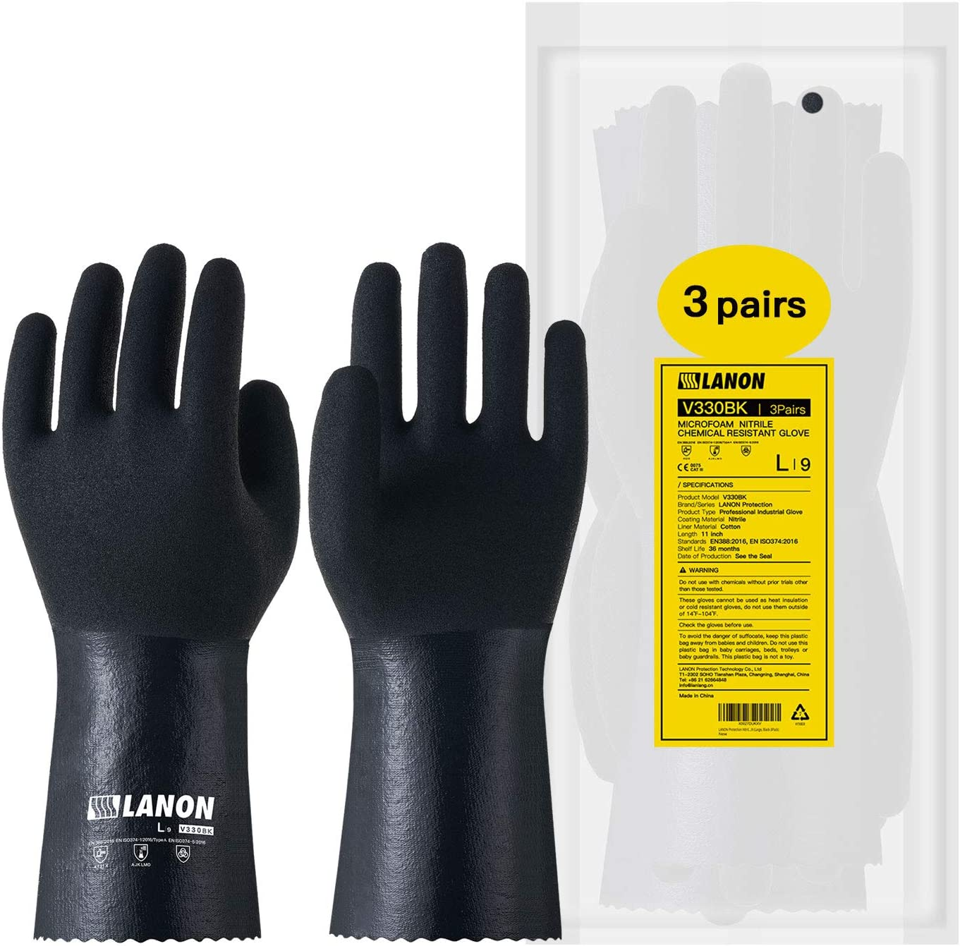 LANON Nitrile Chemical Resistant Gloves, Reusable Heavy Duty Safety Work Gloves with MicroFoam Textured Palm, Non-Slip, XX Large: Clothing