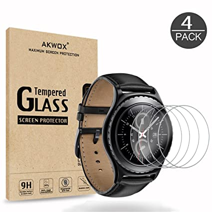 AKWOX [4 Unidades] Protector de Pantalla para Gear S2 (1.2 Inch)/Gear Sport, [9H Dureza] Cristal Vidrio Templado para Samsung Gear S2 Classic/Gear ...