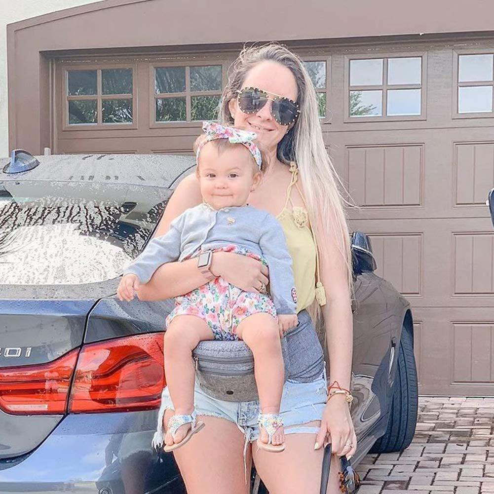 Bebamour Foldable Baby Hip Seat Carrier Ergonomic Toddler Waist Seat Light Grey