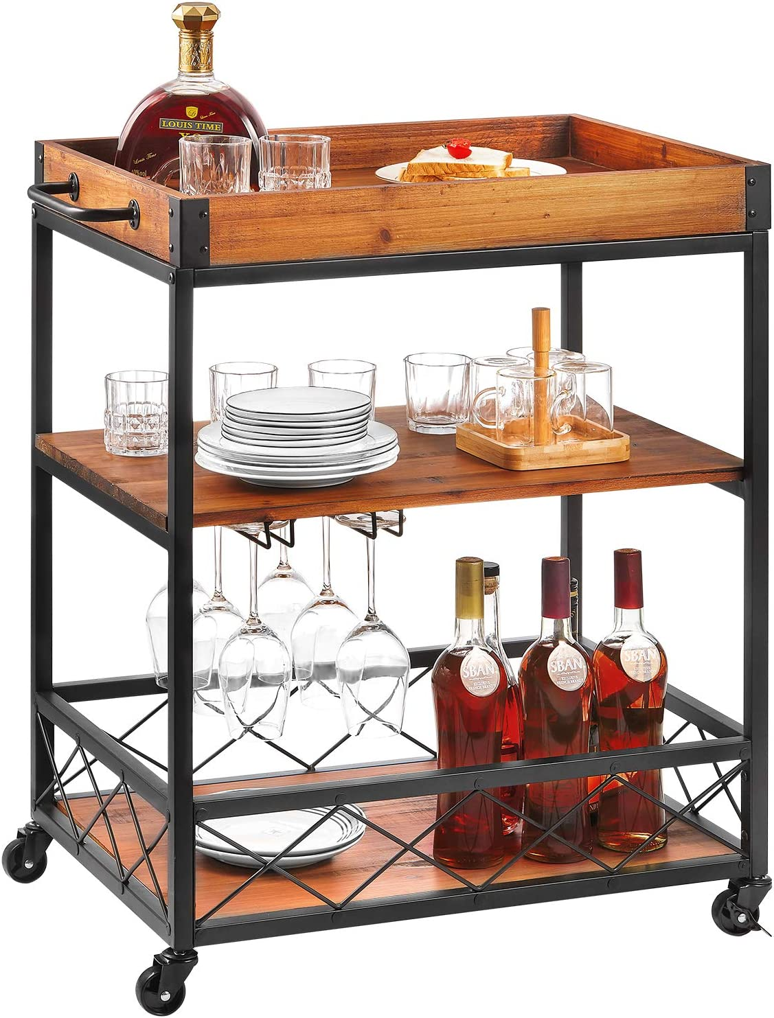 Bar Cart Kealive Kitchen Island Rolling Cart, 3-Tier Storage Shelf with Rack, Bottle Holder, Removable Wood Box Container, Brown 26L x 18W x 32.5in H